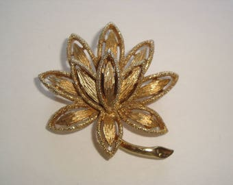 Sparling Gold Tone Layered Lotus Flower Brooch by Avon