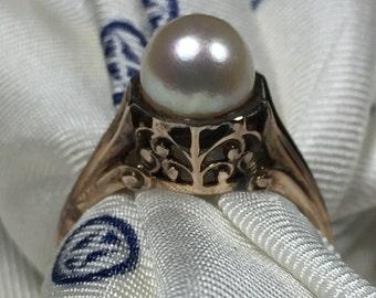 Victorian 14k Pearl filigree ring size 7