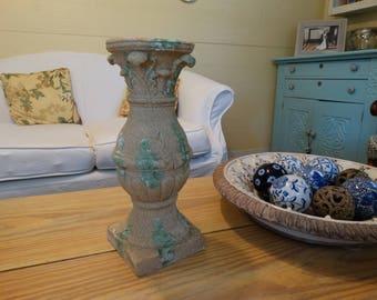 Large Candlestick, vintage look, Grecian style, verdigris finish, Cottage Decor, Shabby Chic