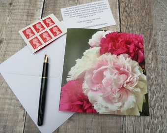 Pink Peonies 'Bouquet' Greeting Card Left Blank for Personal Message