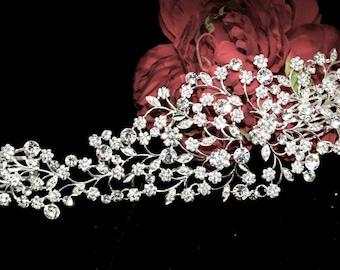 crystal wedding hair vine, bridal hair accessory, wedding hair side piece, wedding headpiece, bridal hairpiece, bridal comb