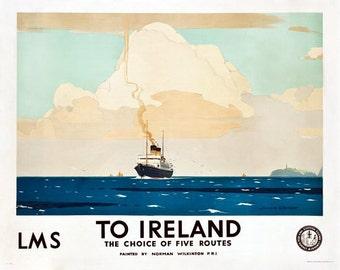 Vintage LMS Ferries To Ireland Railway Poster A3 Print