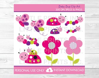 Cute Bug Clipart / Ladybug Clipart / Butterfly Clipart / Flower Clipart / Baby Bugs / Pink & Purple / PERSONAL USE Instant Download A243