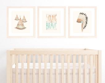 "Tribal Nursery Art, Set of 3 11""x14"" or A3 Prints for Baby Boy Nursery, Boys Room, Bohemian Nursery with War Bonnet, Teepee & Brave Quote"