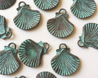 30mm Verdigris Copper Seashell Charms Set of 2