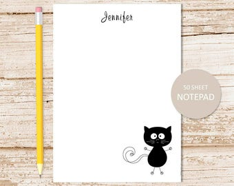 personalized notepad . silly black cat notepad . cat note pad . personalized stationary . stationery gift . halloween