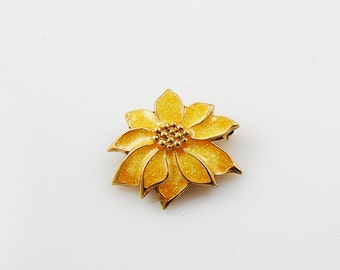 Vintage Yellow and Gold Flower Brooch