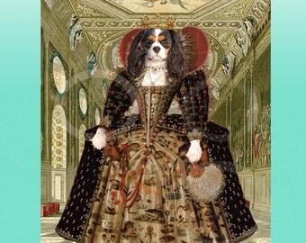 Cavalier King Charles Spaniel TriColor Tudor Queen Elizabeth Giclee 8 x 10 Print Whimsical Wall Art Anthropomorphic Anthro Artwork Gift Dog