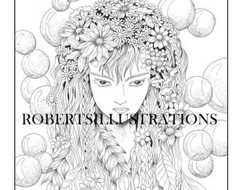 Mystical coloring page, Fantasy coloring page, instant download, printable adult coloring page of mother nature