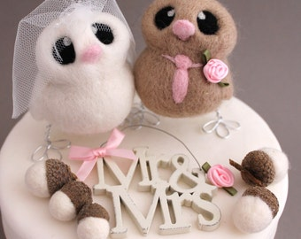 Love Birds Wedding Cake Topper Beige and Pink Wedding Bride and Groom Needle Felted Birds