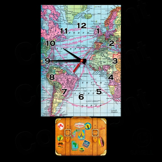 Travel Clock with Swinging Suitcase Pendulum • World Traveler Clock • Travel Agent