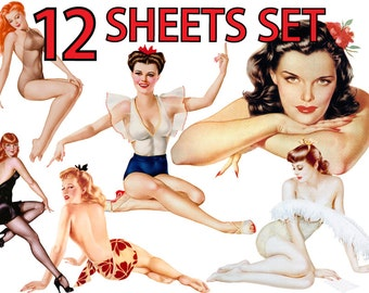 Pin Up Girl ULTIMATE vol.10 Clip Art Set of 12 Printable Digital Collage Sheets Vintage Clipart Instant Download Image Pin-up Iron on Fabric