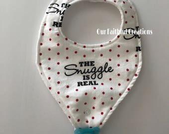 The Snuggle is Real pacifier bib, Binky bib, baby girl bib, Pink Polka Dot Bib, pacifier holder, pacifier clip, drool bib