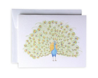 Peacock Greeting Card or Notecard Set -- Landscape