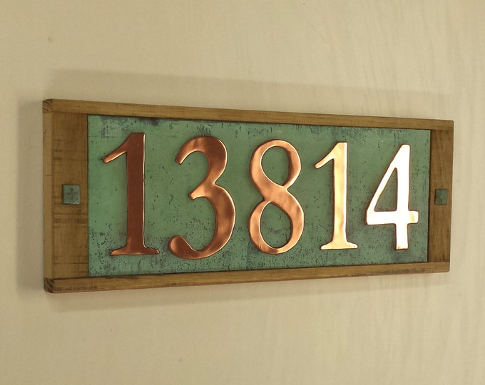 """Large copper and wooden plaque, 150mm/6"""" high numbers ,  polished and patinated,  5 x numbers g"""
