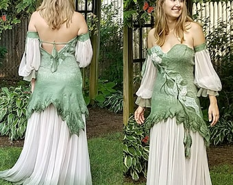 Woodland Fairy Dress in Sage Green and Blush. Felted Adult Fairy Costume. Renaissance Fairy Dress. Medieval Bridal Gown in Silk and Merino