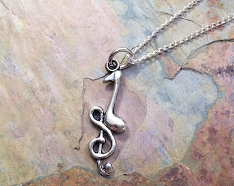 Treble Cleff Music Note Necklace - Antique Silver Jewelry - NEW