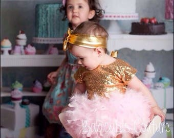 Original Feather Bloomer, Full Feather Tutu, Gold Sequin Bodysuit, Pink & Gold 1st Birthday Outfit, Feather Flower Girl Outfit, Cake Smash