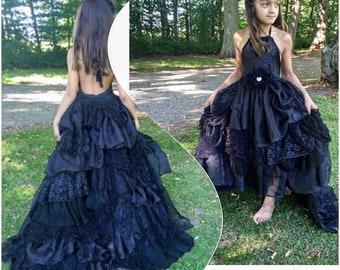 All black layered dress