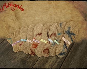 Soles insulating wool, felted by hand