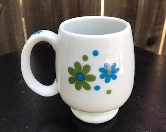 Vintage Takahashi Mod Flowers Coffee Mug