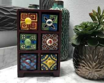Apothecary Cabinet 6 Ceramic Spice Drawers Herb Storage Box, Unique Jewelry Box, Unique Distressed Look, Medicine Box, Item #606612345