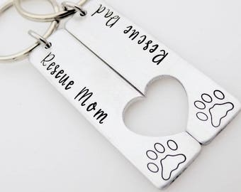 Rescue Mom Dad, Matching Keychain Set, Couples Keychains, Gift for pet lover, Cat Mom, Dog Mom, Dog Parents, Cat Parents, Furbaby gift