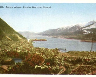 Vintage Postcard Juneau Alaska and Gastineau Channel Unused Colorful Post Card Alaskan Capital City Blue Sky Waterway Snowcapped Mountains