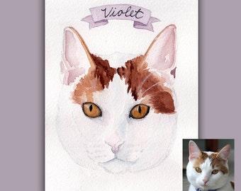 """THREE Custom Watercolor Pet Portraits - 5""""x7"""""""