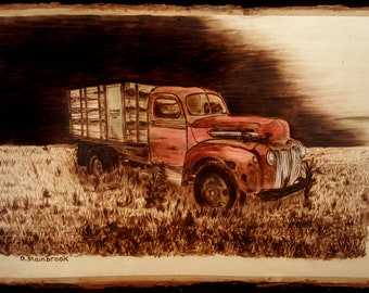 Wood burning of an Old Truck