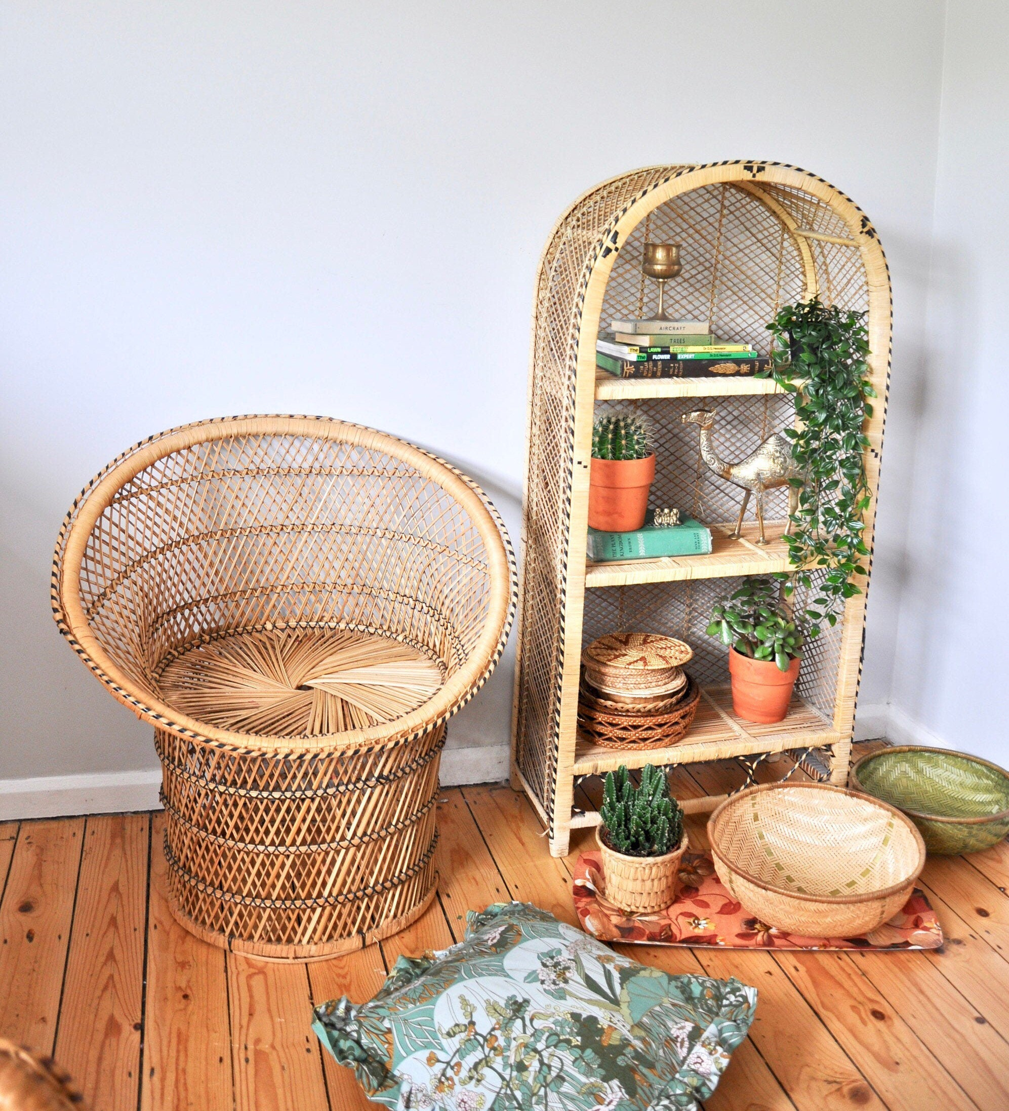 Vintage wicker peacock style tub chair from the 1970s, boho decor
