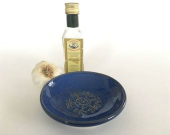 Garlic grater dish-blue dragonfly-pottery condiment dish