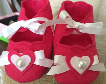 Pink And White Baby Booties