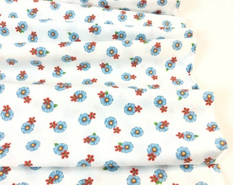 SALE ~By the Yard ~ Who Let The Hogs Out Tossed Flower White/blue Color designed by Desiree's Designs for Quilting Treasures, Quilting