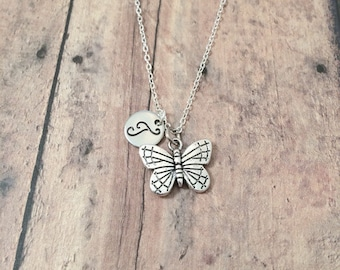 Butterfly initial necklace - butterfly jewelry, insect necklace, spring necklace, silver butterfly pendant, insect jewelry, spring jewelry