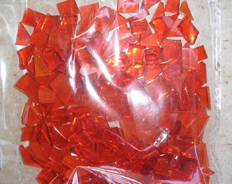 Orange stained glass tiles for mosaic crafts, glass pieces, random shapes, 100g, craft supplies, glass for crafts, UK supplier, glass art