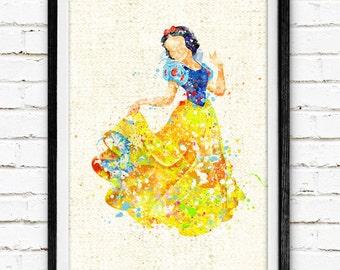 Disney, Princess Snow White, Poster, Watercolor Painting, Wall Art Print, Kids Decor, Nursery Room, Home Decor, Baby Shower, Gift, 357
