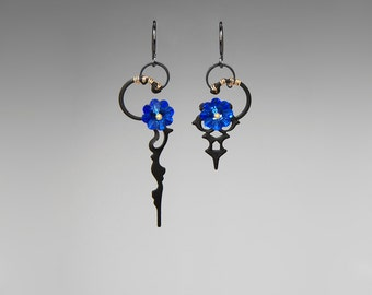 Sapphire Swarovski Crystal Steampunk Earrings, Vintage Clock Hands, Crystal Earrings, Blue Crystal Earrings by Youniquely Chic, Nyx II v24