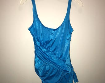 Vintage 80's Blue Bathing Suit / size 14 / by Sirena
