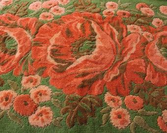 Fieldcrest Embossed Plush Poppy Flower Bath Towel, Olive and Orange