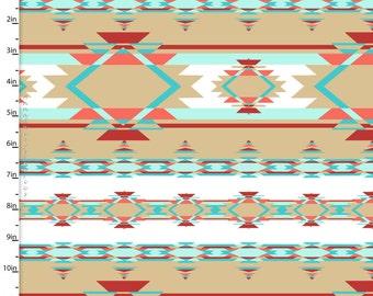 Aztec stripe Fabric, Kohana, 3 Wishes 11646 Tan, Southwestern Quilt Fabric, Turquoise, Aqua, Coral, Tan, Children's Quilt Fabric,  Cotton