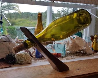 Koa Wood Wine Leaning Levitating Beverage Holder Stand Handmade