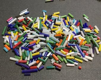 Multicolor Bugle Beads Blue Green Yellow White Mix