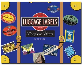 Travel Stickers - Paris, City of Lights - France - Luggage Labels - Vintage Replicas - 20 in Full Color - Decorative Box - Laughing Elephant