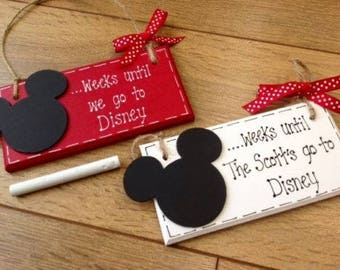 Personalised Countdown To Disney Holiday Wooden Plaque Surprise Gift, Disneyland Florida includes chalk