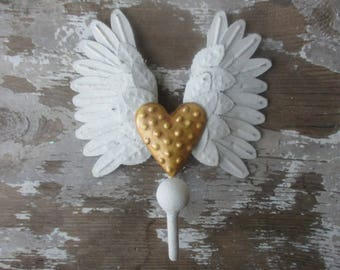Angel wings hook winged heart shabby white distressed paint metal wall hook romantic decor gold dotted heart N4