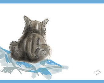 Cat Greeting Card, Blank, Henry's Blanket Design No A6001