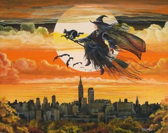 "Halloween Folk Art ""City Witch"" Witch Flying Over New York City Full Moon  PRINT Byrum Art HAGUILD"