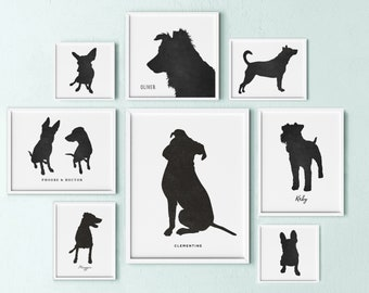 dog lover gift dog silhouette portrait dog art pet memorial pet portrait dog art pet keepsake gift for dog lover year of the dog