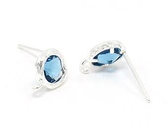 1 pair supports glass 8mm Lt. SAPPHIRE rhinestone earrings